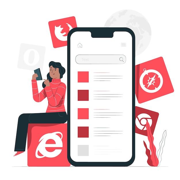 Illustrazione di concetto di browser mobile Vettore gratuito