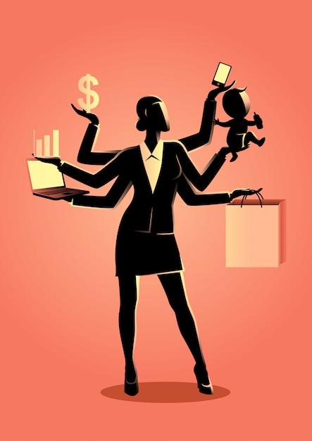 Illustrazione di concetto di business per il multitasking Vettore Premium