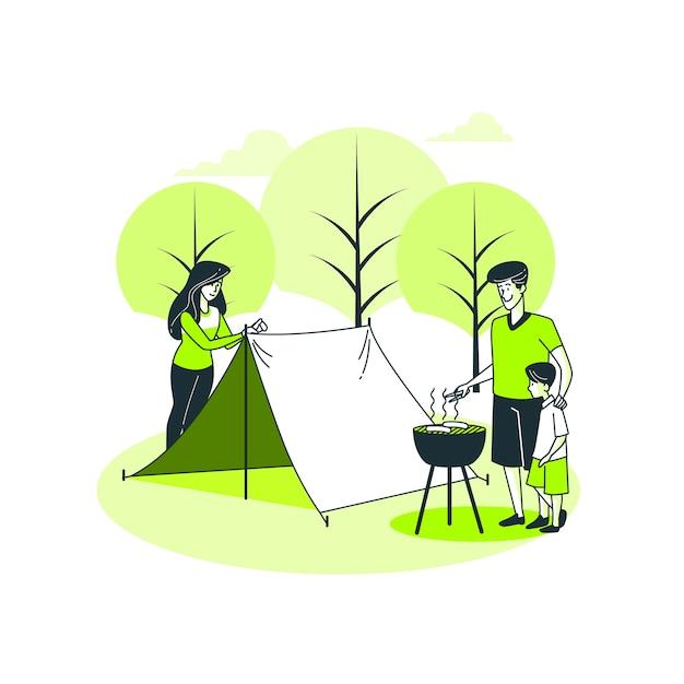 Illustrazione di concetto di campeggio Vettore gratuito