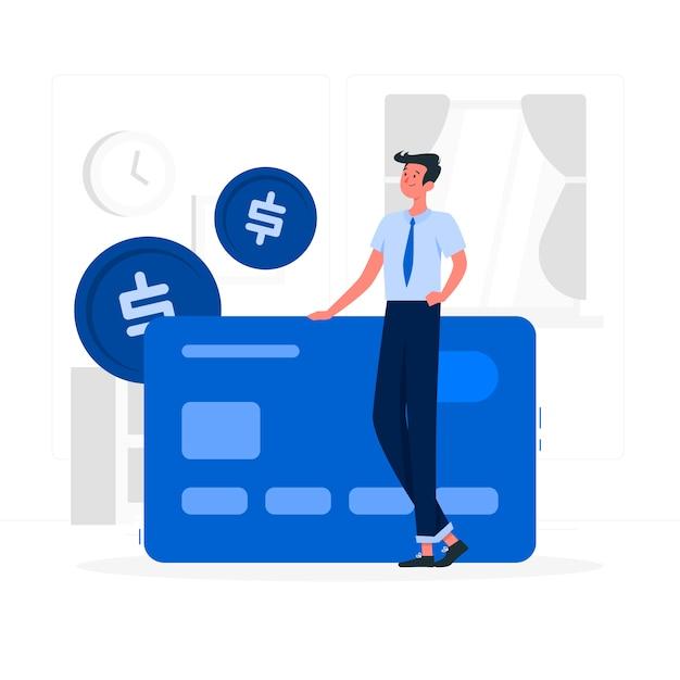 Illustrazione di concetto di carta di credito Vettore gratuito