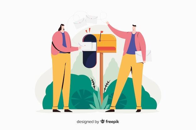 Illustrazione di concetto di cassetta postale Vettore gratuito