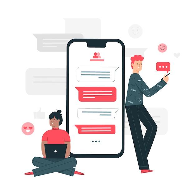 Illustrazione di concetto di chat Vettore gratuito