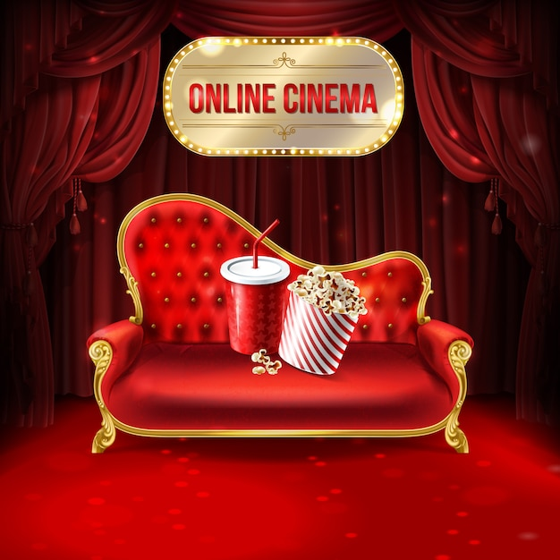 Illustrazione di concetto di cinema online. comodo divano in velluto con secchio di popcorn Vettore gratuito