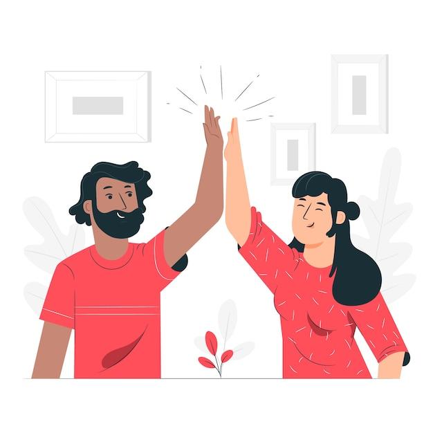 Illustrazione di concetto di cinque alti Vettore gratuito