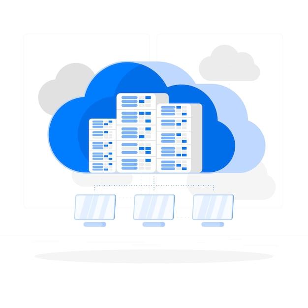 Illustrazione di concetto di cloud hosting Vettore gratuito