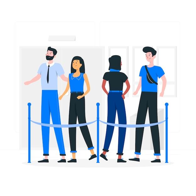 Illustrazione di concetto di coda Vettore gratuito