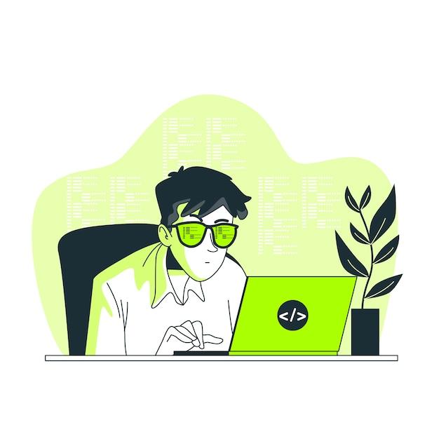 Illustrazione di concetto di codifica Vettore gratuito