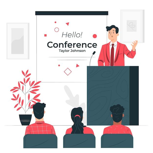 Illustrazione di concetto di conferenza Vettore gratuito