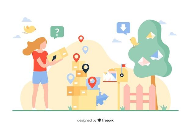 Illustrazione di concetto di consegna Vettore gratuito
