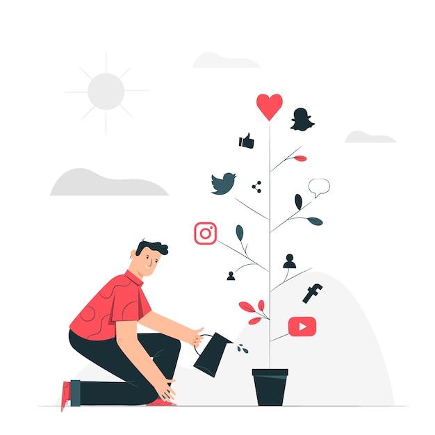 Illustrazione di concetto di crescita sociale Vettore gratuito