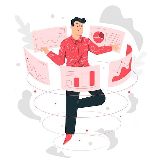 Illustrazione di concetto di dati visivi Vettore gratuito