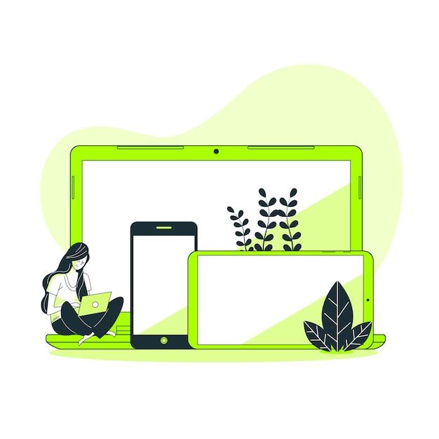 Illustrazione di concetto di dispositivi Vettore gratuito