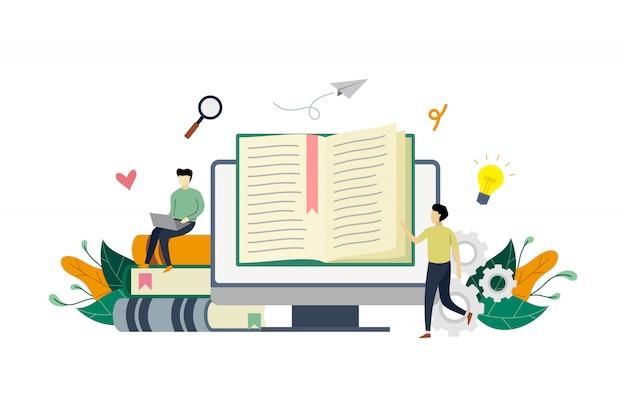 Illustrazione di concetto di e-biblioteca Vettore Premium