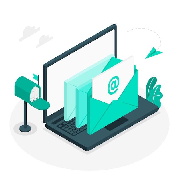 Illustrazione di concetto di e-mail Vettore gratuito