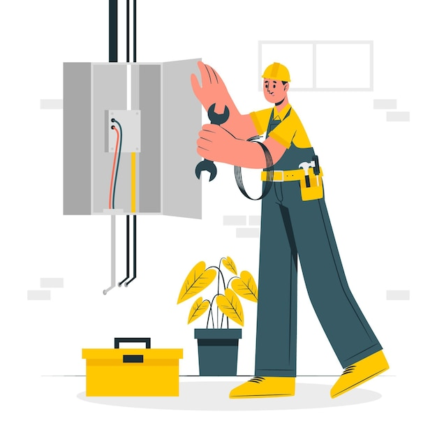 Illustrazione di concetto di elettricista Vettore gratuito