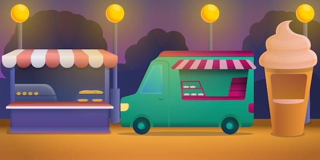 Illustrazione di concetto di festival di cibo, stile cartoon Vettore Premium