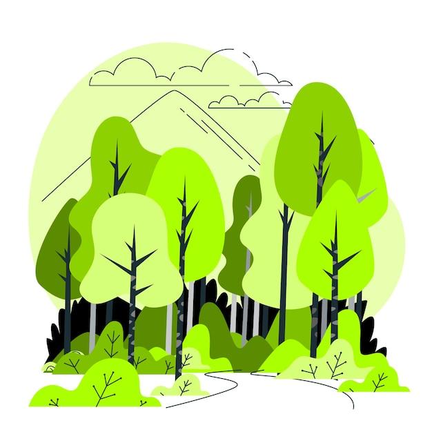 Illustrazione di concetto di foresta Vettore gratuito