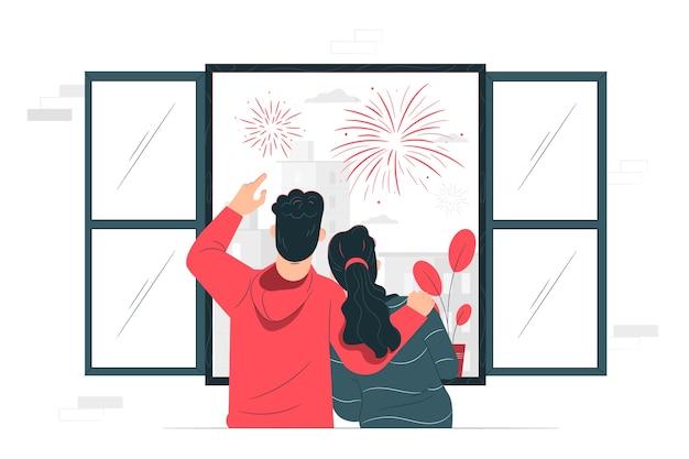 Illustrazione di concetto di fuochi d'artificio Vettore gratuito
