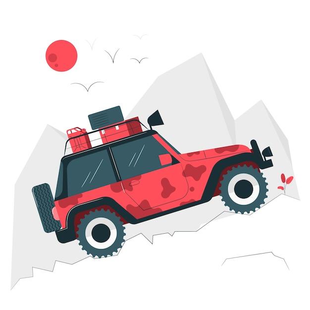 Illustrazione di concetto di fuoristrada Vettore gratuito