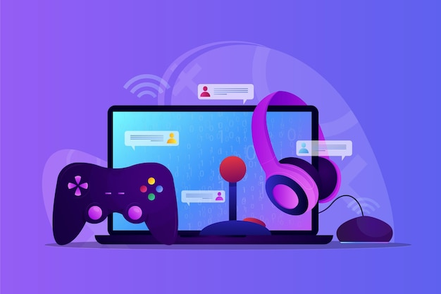 Illustrazione di concetto di giochi online con il computer Vettore gratuito