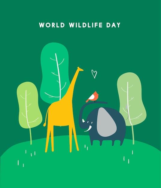 Illustrazione di concetto di giornata mondiale della fauna selvatica Vettore gratuito