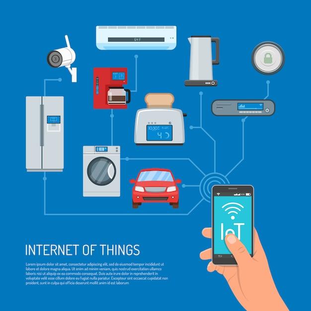 Illustrazione di concetto di internet of things nella progettazione piana Vettore Premium