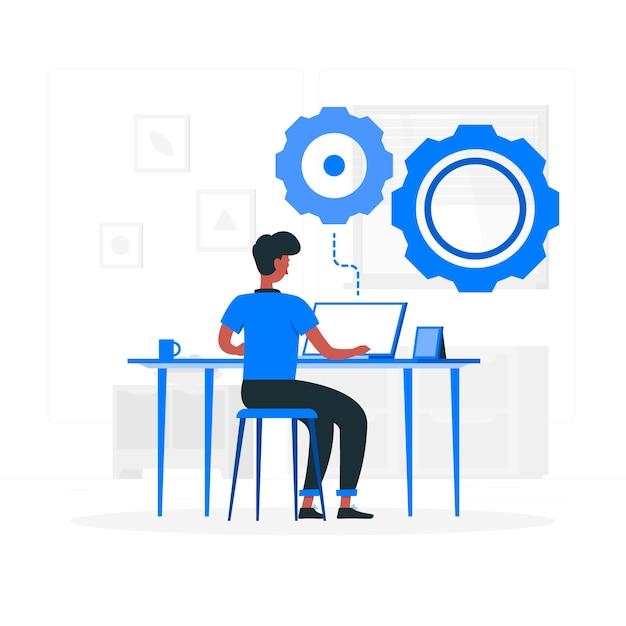 Illustrazione di concetto di lavoro Vettore gratuito