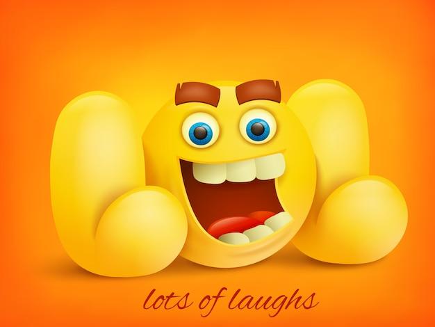 Illustrazione di concetto di lol con carattere di emoji giallo. Vettore Premium