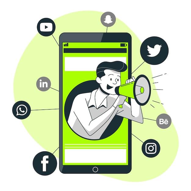 Illustrazione di concetto di marketing mobile Vettore gratuito