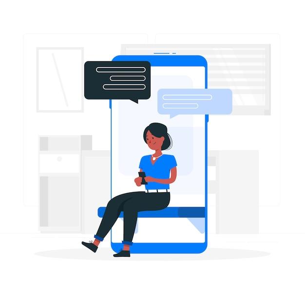 Illustrazione di concetto di messaggistica Vettore gratuito