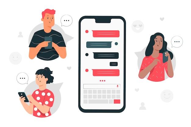 Illustrazione di concetto di messenger Vettore gratuito