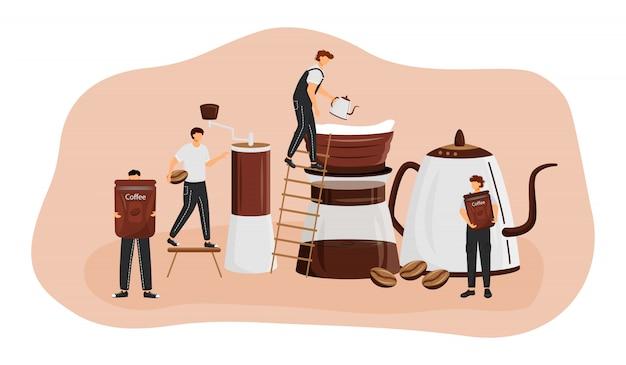 Illustrazione di concetto di metodi di preparazione del caffè. uomo che fa il caffè espresso. processo di preparazione americano. serve bevande fresche. personaggi dei cartoni animati barista per il web. idea creativa di coffeeshop Vettore Premium