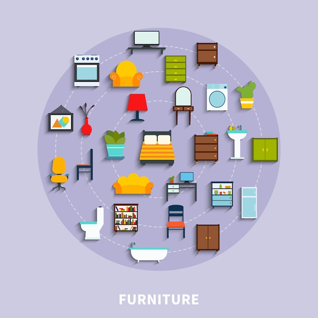 Illustrazione di concetto di mobili Vettore gratuito