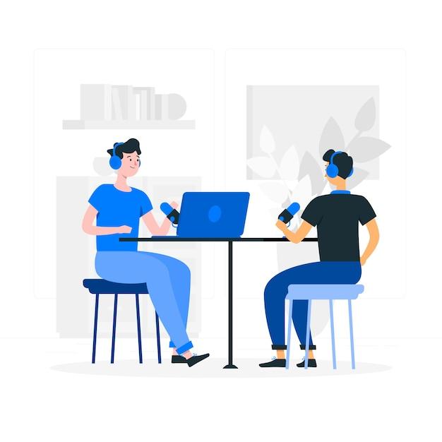Illustrazione di concetto di podcast Vettore gratuito