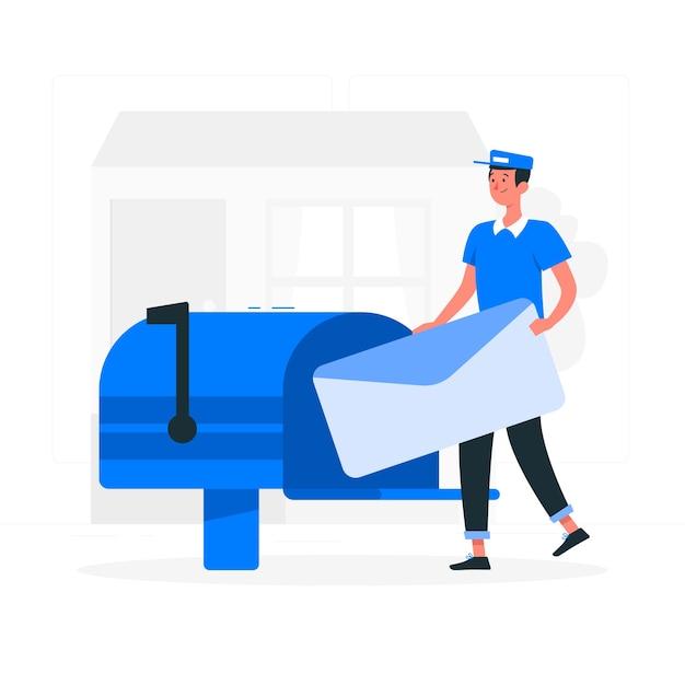 Illustrazione di concetto di posta Vettore gratuito