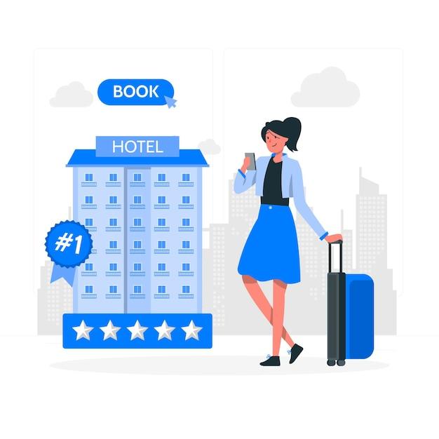 Illustrazione di concetto di prenotazione hotel Vettore gratuito