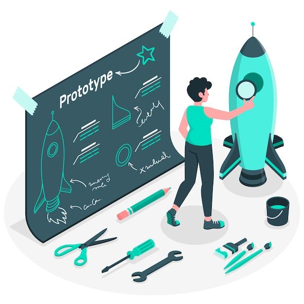 Illustrazione di concetto di processo di prototipazione Vettore gratuito