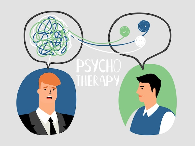 Illustrazione di concetto di psicoterapia Vettore Premium