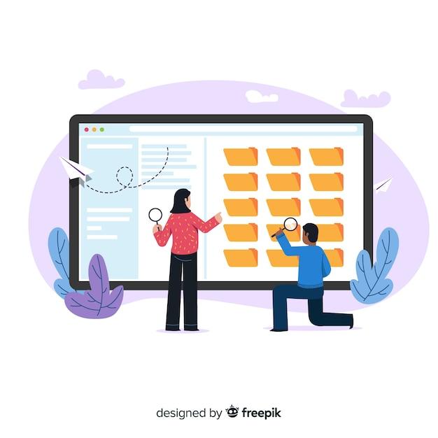 Illustrazione di concetto di ricerca di file Vettore gratuito