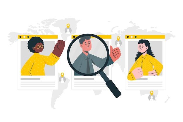 Illustrazione di concetto di ricerca persone Vettore gratuito
