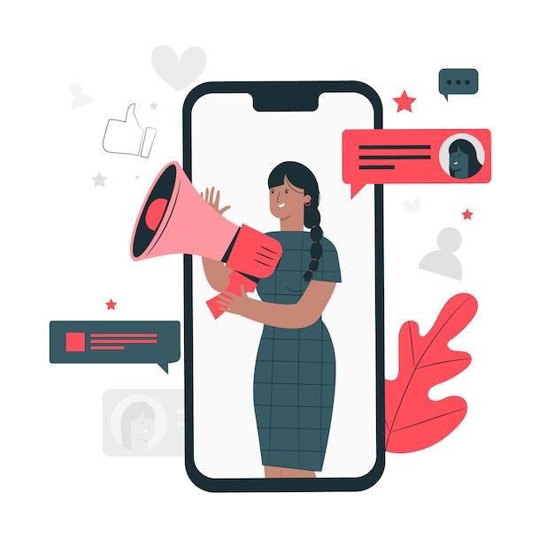 Illustrazione di concetto di social media Vettore gratuito