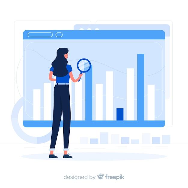 Illustrazione di concetto di statistiche del browser Vettore gratuito