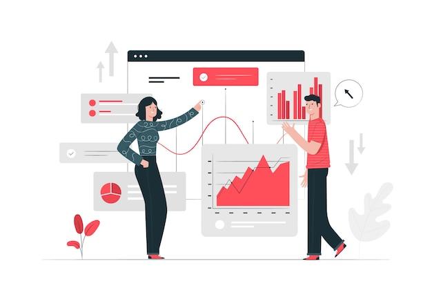 Illustrazione di concetto di statistiche Vettore gratuito