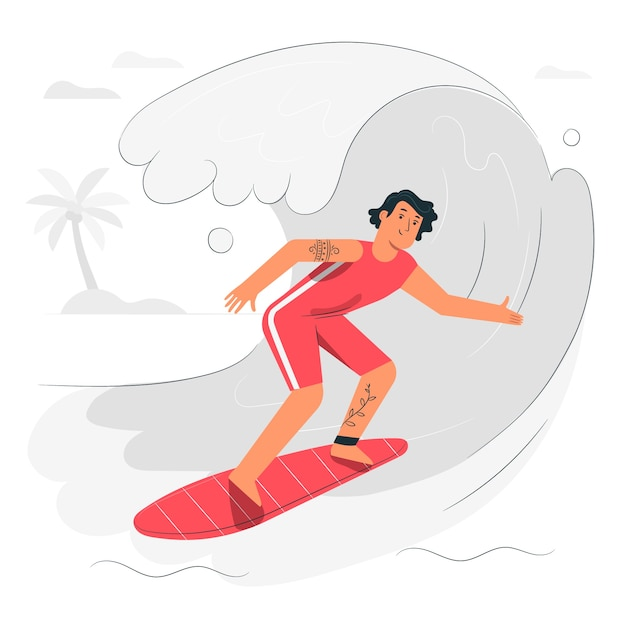 Illustrazione di concetto di surfista Vettore gratuito