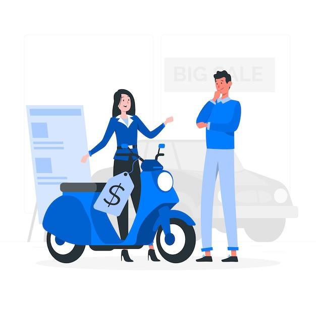 Illustrazione di concetto di vendita del veicolo Vettore gratuito