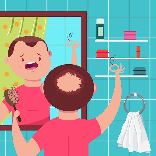 Illustrazione di concetto di vettore di perdita di capelli l'uomo calvo con un pettine in bagno si guarda allo specchio. personaggio dei cartoni animati divertente. Vettore Premium