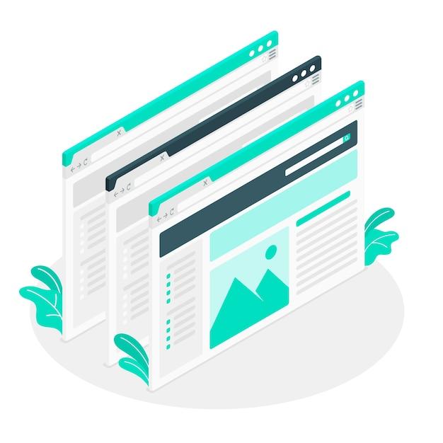 Illustrazione di concetto di windows Vettore gratuito