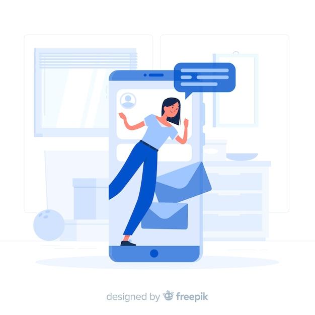 Illustrazione di concetto mobile Vettore gratuito
