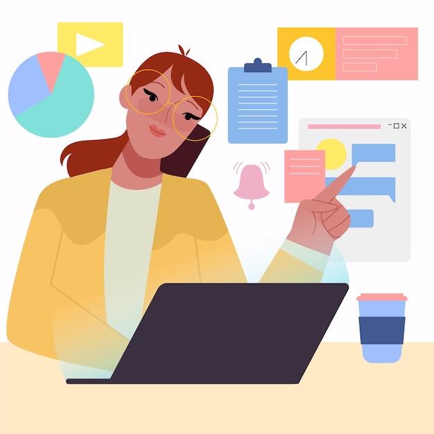 Illustrazione di concetto multitasking Vettore gratuito