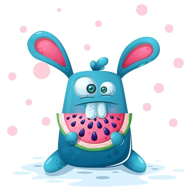 Illustrazione di coniglio carino con anguria. Vettore Premium